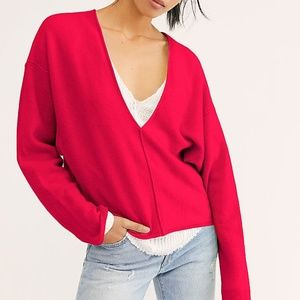 FREE PEOPLE v-neck CASHMERE solitaire sweater!Sz S